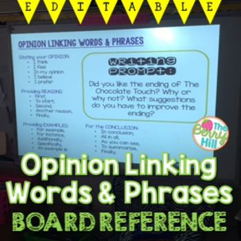 Opinion Writing - Board Reference for Linking Words EDITABLE!