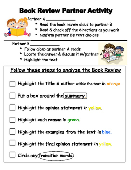 Opinion Writing: Book Review Model w/Partner Activity
