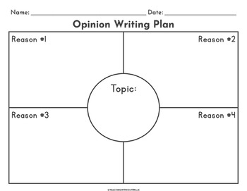 Opinion Writing Brainstorming Graphic Organizers and Writing Paper