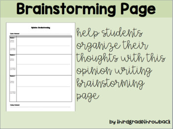 Opinion Writing Brainstorming Page