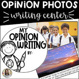 Opinion Writing Center: Photo Prompt Cards and Writing Paper