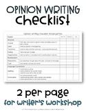 Opinion Writing Checklist, Kindergarten