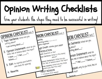 Opinion Writing Checklists