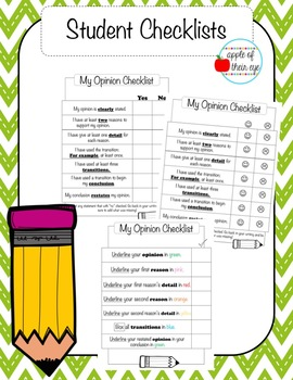 Opinion Writing Checklists (CCSS Aligned!)