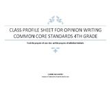 Opinion Writing Class Profile Chart