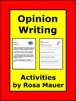 Opinion Writing Common Core Worksheets