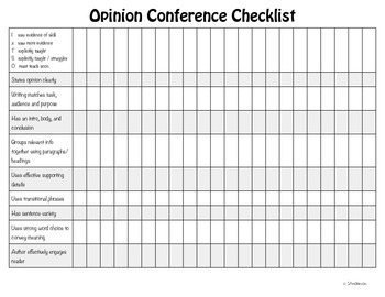 Opinion Writing Conferencing Form