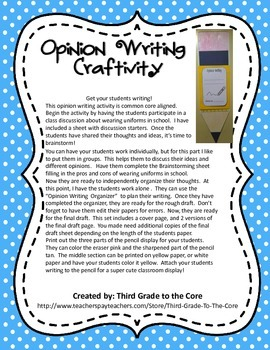 Opinion Writing Craftivity