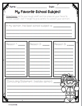 Opinion Writing Craftivity: What is your Favorite School Subject?