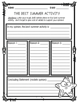 Opinion Writing Craftivity: What is your favorite summer activity?
