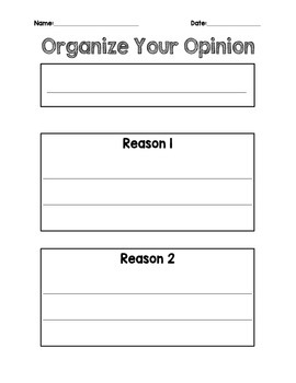 Opinion Writing Differentiated Graphic Organizers