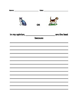 Opinion Writing: Dogs versus Cats