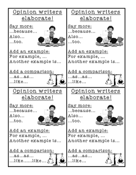 Opinion Writing Elaboration Prompts