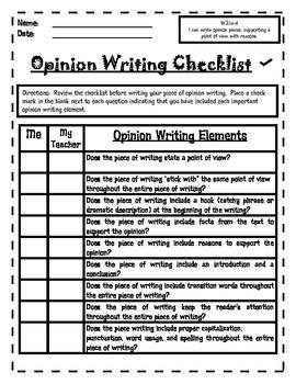 Opinion Writing Elements Checklist