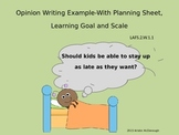 Opinion Writing Example Powerpoint with Learning Goal and Scale
