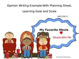 Opinion Writing Example Powerpoint with Planning Sheet, Learning Goal, and Scale