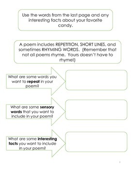 Opinion Writing:  Favorite Candy-poem, opinion paragraph/ use after Halloween