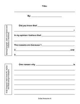 Opinion Writing Frame By Everyday Resources Teachers Pay Teachers