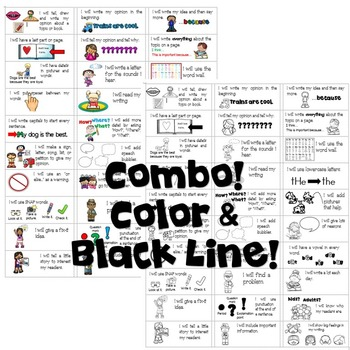 Goal Setting Labels For Kindergarten!  Opinion Writing COMBO-Color & BW