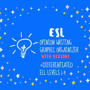 Opinion Writing Graphic Organizer+ Differentiated +ELL Levels 1-4
