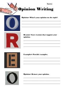 Opinion Writing Graphic Organizer- O.R.E.O.