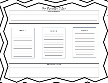 Opinion Writing Graphic Organizer - The Day the Colors Quit