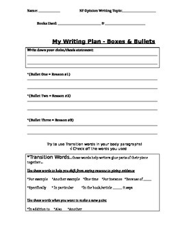 Opinion Writing Graphic Organizer two texts or one text
