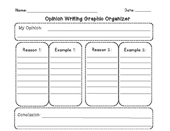 Opinion Writing Graphic Organizer with 2 Reasons/ Examples and Writing Paper
