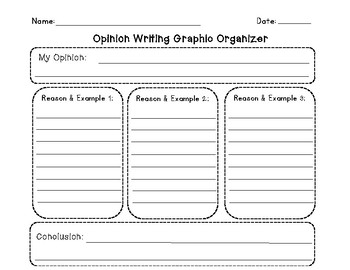 Opinion Writing Graphic Organizer with 3 Reasons/ Examples and Writing Paper