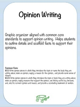 Opinion Writing Graphic Organizer with Supporting Facts {Common Core}