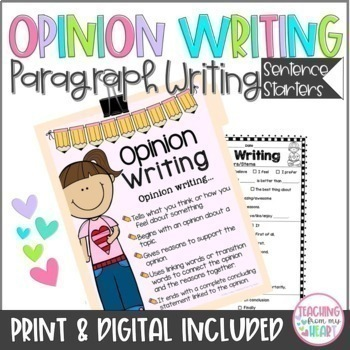 Opinion Writing Transitions Sentence Starters/Stems ANY TOPIC, Back to School