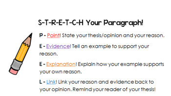 Opinion Writing Guide Sheet - Stretch Your Paragraph