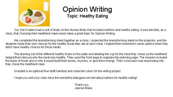 Opinion Writing: Healthy Eating