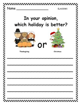 Holidays Opinion Writing