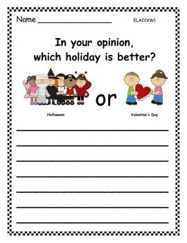 Holidays Opinion Writing