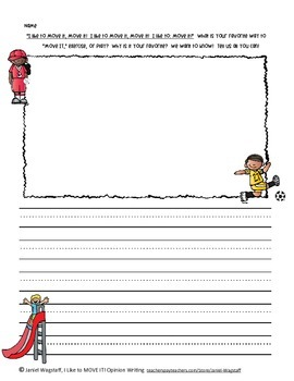 Opinion Writing:  I Like To Move It, Move It! K-2 FREEBIE