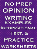 Opinion Writing No Prep Lesson Literacy Practice Worksheet