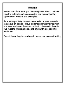 Opinion Writing:  It's What I Think!  Third Grade  Common Core
