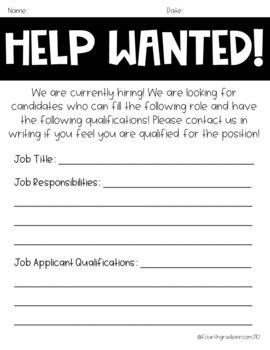 Opinion Writing-Job Hunt/Help Wanted