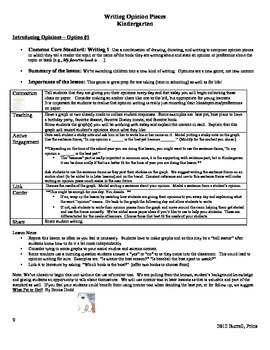 Opinion Writing Kindergarten
