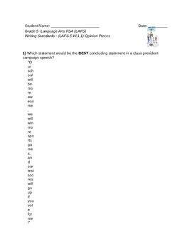 Opinion Writing-LAFS.5.w.1.1 Quiz