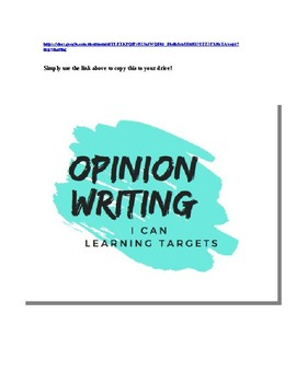 Opinion Writing Learning Targets