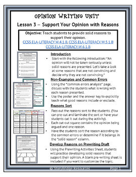 Opinion Writing Lesson-How to Develop Supporting Reasons