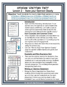 Opinion Writing Lesson-How to Write Clear Opinion Statements