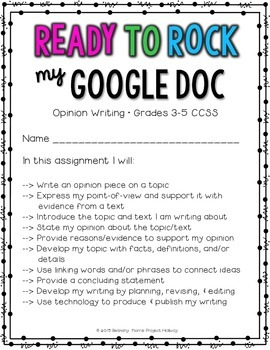 Opinion Writing: Multi-Draft Opinion Essay using Google Docs {CCSS}