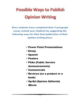 Opinion Writing- No Prep Printables and Mini Lessons