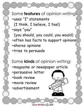 Opinion Writing Notebook Pages