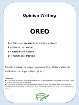 Opinion Writing OREO Graphic Organizer {Common Core}