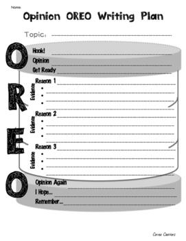 OREO Opinion Writing Graphic Organizer Set