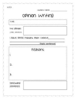 Opinion Writing Organizer